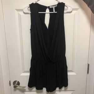 Black deep cut romper
